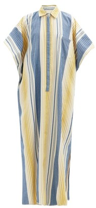 Marrakshi Life - Point-collar Jacquard-stripe Cotton-blend Kaftan - Multi Stripe