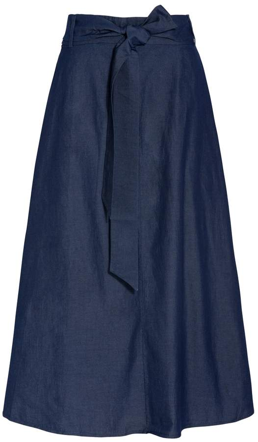 Tibi Denim Wrap Skirt