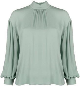 Vince Gathered-Sleeve Silk Blouse