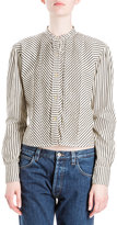 Loewe Striped Band-Collar Blouse, Black/White