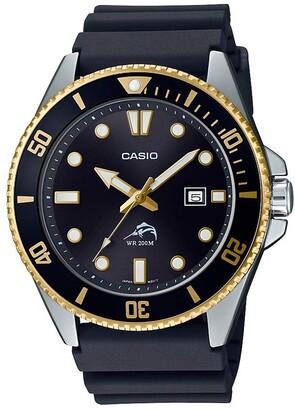 Casio Women's Diver Inspired Stainless Steel Quartz Resin Strap Black