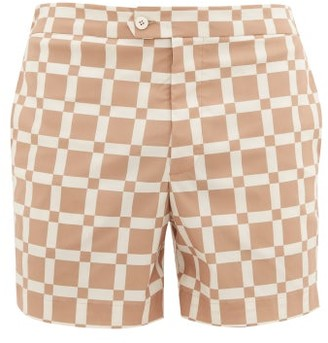 ODYSSEE Maure Checked Swim Shorts - Brown Multi