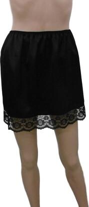"Fdl Satin Slips Black Shimmering Satin and lace Half Waist Slip Underskirt Petticoat Length 15"" Sizes XS to XXL (XXL fits Hips 42""-44"")"