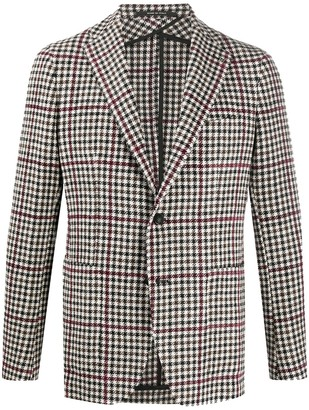 Tagliatore Knitted Check Patterned Blazer