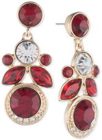 Givenchy Gold-Tone Red Crystal Cluster Drop Earrings