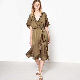 La Redoute Collections Asymmetrical Ruffled Wrap Dress