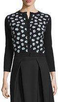 Carolina Herrera 3/4-Sleeve Floral-Embellished Cardigan, Black/Green/White