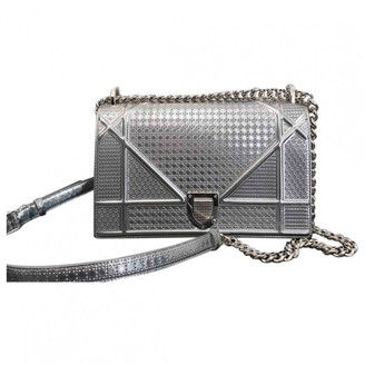 Christian Dior Diorama Silver Leather Handbags