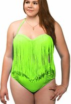Blidece Women's Plus Size Two-Piece High Waist Braided Fringe Top Bikini Swimwear