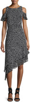 Neiman Marcus Cold-Shoulder Polka-Dot Asymmetric-Hem Dress, Black/White