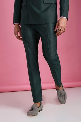 boohoo Mens Green Skinny Plain Suit Trouser, Green