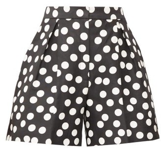 Carolina Herrera High-rise Polka-dot Cotton-blend Shorts - Womens - Black White