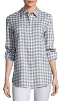 Lafayette 148 New York Brody Wanderlust Linen Check Button-Down Blouse, Plus Size