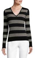 Piazza Sempione Striped V-Neck Sweater
