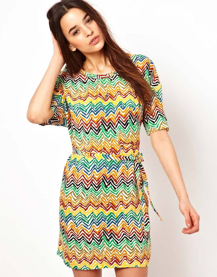 American Vintage Woven Tee Dress With Belt