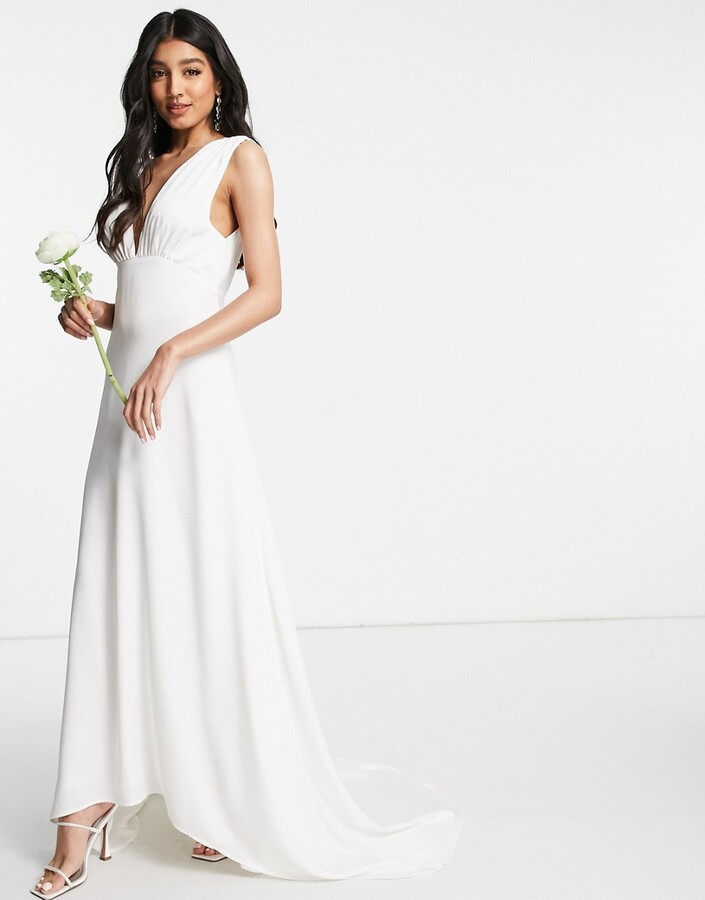 Thumbnail for your product : Y.A.S Bridal maxi dress with button detail and train in white
