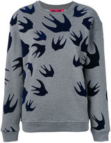 McQ by Alexander McQueen flocked swallow sweatshirt - women - Cotton/Polyester - XXS
