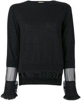 No.21 sheer panel and frill trim sleeve knit top - women - Silk/Virgin Wool - 42