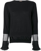 No.21 sheer panel and frill trim sleeve knit top