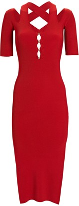 Versace Button Front Knit Midi Dress