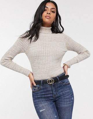 Vero Moda Aware knitted jumper with roll neck in grey space dye