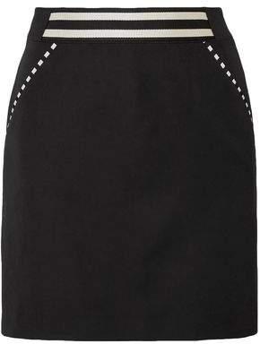 Tomas Maier Striped Grain De Poudre Wool Mini Skirt