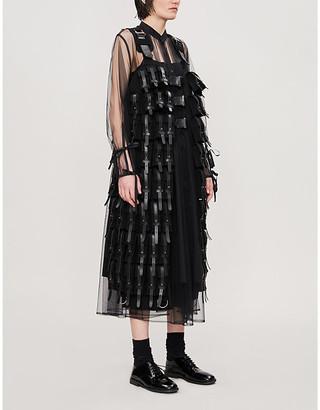 Noir Kei Ninomiya Buckle-embellished full-length leather and wool gilet