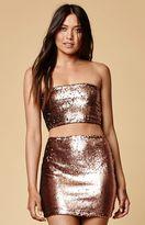 Motel Rocks Cherry Sequined Mini Skirt