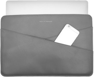 Holly & Tanager 15 Inch Leather Laptop Sleeve In Grey