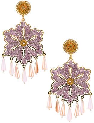 Mercedes Salazar Hibiscus Earrings in Orange & Pink | FWRD