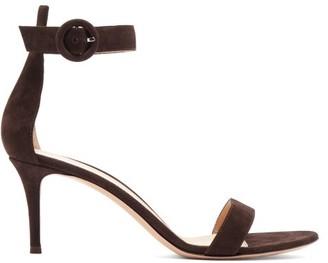 Gianvito Rossi Portofino 70 Suede Sandals - Womens - Dark Brown