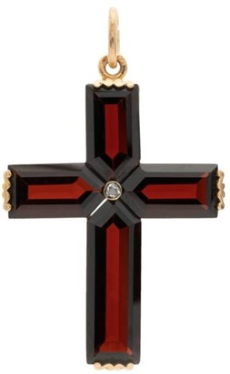 Stephanie Windsor Victorian 14K Yellow Gold, Garnet & Diamond Cross Pendant