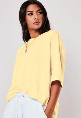 Missguided Petite Lemon Drop Shoulder Oversized T Shirt