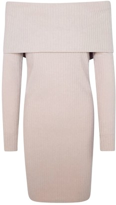 Haris Cotton Off Shoulders Viscose Blend Slim Fit Dress Beige