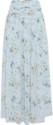 ML Monique Lhuillier Ruched Floral-print Chiffon Maxi Skirt