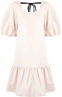 Lee Mathews Reo puff sleeve drop waist dress