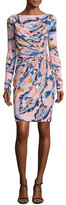 Emilio Pucci Printed Long-Sleeve Boat-Neck Dress, Pink/Multi