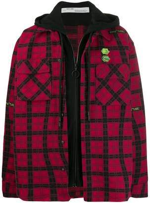 Off-White Off White check print layered shirt jacket red