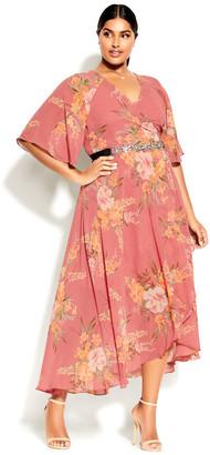 City Chic Grand Floral Maxi Dress - guava