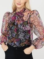 Monsoon Fiona Floral Tie Neck Sheer Blouse, Black/Multi