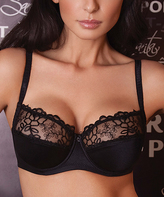 Samanta Black Floral-Embroidered Full-Fit Bra - Plus Too