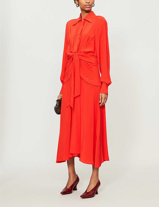 Victoria Beckham Gathered silk midi dress