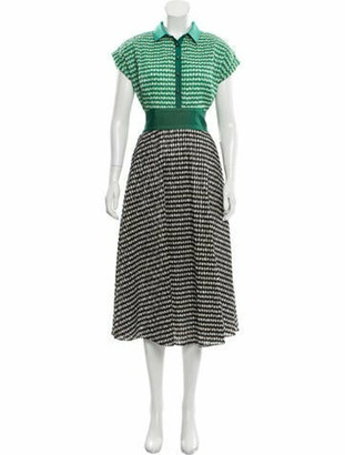 Lela Rose Gingham Midi Dress Green