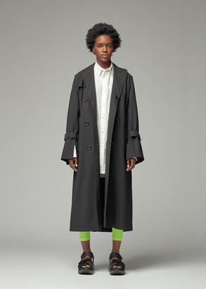 Junya Watanabe Women's Accordion Pleated Trench Jacket Coat in Black Size 2 Wool/Polyester/Cupro Trim