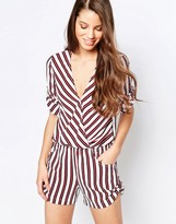 Traffic People Romper With Wrap Front In Stripe