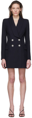 Balmain Navy Wool Blazer Dress