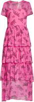 HVN Brynn Tiered Silk Chiffon Dress