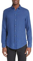Armani Collezioni Men's Trim Fit Linen Sport Shirt