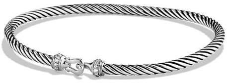 David Yurman Sterling Silver 0.05ct Diamonds Cable Buckle Bracelet