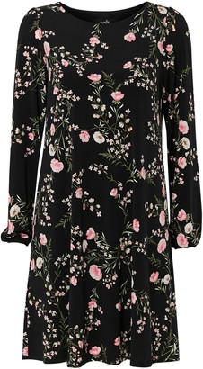 Wallis PETITE Black Floral Print Swing Dress